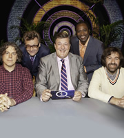 QI. Image shows from L to R: Alan Davies, Greg Proops, Stephen Fry, Reginald D Hunter, David O'Doherty. Copyright: TalkbackThames.