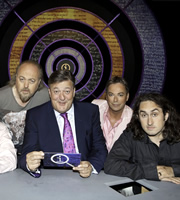QI. Image shows from L to R: Bill Bailey, Stephen Fry, Julian Clary, Ross Noble. Copyright: TalkbackThames.