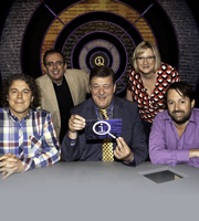 QI. Image shows from L to R: Alan Davies, Richard Coles, Stephen Fry, Sarah Millican, David Mitchell. Copyright: TalkbackThames.