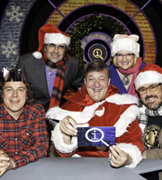 QI. Image shows from L to R: Alan Davies, Danny Baker, Stephen Fry, Sarah Millican, Phill Jupitus. Image credit: TalkbackThames.