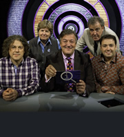 QI. Image shows from L to R: Alan Davies, Sandi Toksvig, Stephen Fry, Jeremy Clarkson, Jason Manford. Copyright: TalkbackThames.