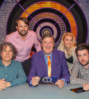 QI. Image shows from L to R: Alan Davies, David Mitchell, Stephen Fry, Sara Pascoe, Jack Whitehall. Copyright: TalkbackThames.