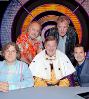 QI. Image shows from L to R: Alan Davies, Bill Bailey, Stephen Fry, Jeremy Clarkson, Jimmy Carr. Copyright: TalkbackThames.