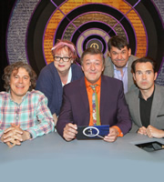 QI. Image shows from L to R: Alan Davies, Jo Brand, Stephen Fry, Graham Linehan, Jimmy Carr. Copyright: TalkbackThames.