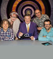 QI. Image shows from L to R: Alan Davies, Jo Brand, Stephen Fry, Danny Baker, Marcus Brigstocke. Copyright: TalkbackThames.