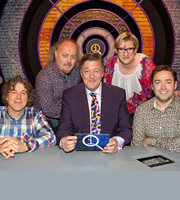 QI. Image shows from L to R: Alan Davies, Bill Bailey, Stephen Fry, Sarah Millican, Jason Manford. Copyright: TalkbackThames.
