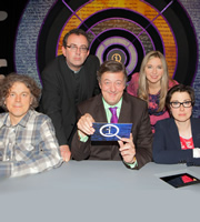 QI. Image shows from L to R: Alan Davies, Richard Coles, Stephen Fry, Victoria Coren Mitchell, Sue Perkins. Copyright: TalkbackThames.