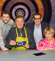QI. Image shows from L to R: Jason Manford, Stephen Fry, Richard Osman, Victoria Wood. Copyright: TalkbackThames.