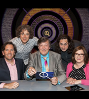QI. Image shows from L to R: Colin Lane, Alan Davies, Stephen Fry, Ross Noble, Sarah Millican. Copyright: TalkbackThames.