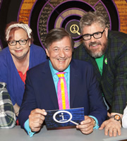 QI. Image shows from L to R: Jo Brand, Stephen Fry, Phill Jupitus. Copyright: TalkbackThames.