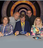 QI. Image shows from L to R: Alan Davies, Bill Bailey, Stephen Fry, Richard Coles, Sara Pascoe. Copyright: TalkbackThames.