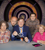 QI. Image shows from L to R: Alan Davies, Bill Bailey, Stephen Fry, Jason Manford, Sandi Toksvig. Copyright: TalkbackThames.