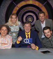 QI. Image shows from L to R: Alan Davies, Sara Pascoe, Stephen Fry, Adam Hills, Jack Whitehall. Copyright: TalkbackThames.