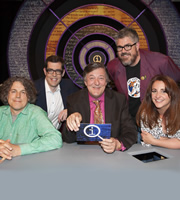 QI. Image shows from L to R: Alan Davies, Richard Osman, Stephen Fry, Phill Jupitus, Lucy Porter. Copyright: TalkbackThames.