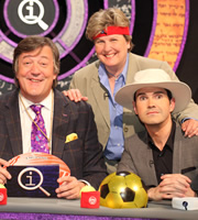 QI. Image shows from L to R: Stephen Fry, Sandi Toksvig, Jimmy Carr. Copyright: TalkbackThames.