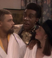 Red Dwarf. Image shows from L to R: Lister (Craig Charles), Cat (Danny John-Jules), Kochanski (Clare Grogan). Copyright: Grant Naylor Productions / BBC.
