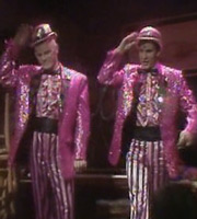 Red Dwarf. Image shows from L to R: Kryten (Robert Llewellyn), Rimmer (Chris Barrie). Image credit: Grant Naylor Productions.