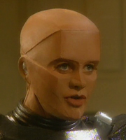 Red Dwarf. Mechanoid Camille (Judy Pascoe). Copyright: Grant Naylor Productions / BBC.
