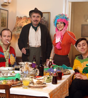 Rock & Chips. Image shows from L to R: Reg Trotter (Shaun Dingwall), Edward 'Ted' Trotter (Phil Daniels), Violet (Paula Wilcox), Del Boy (James Buckley). Copyright: Shazam Productions / BBC.