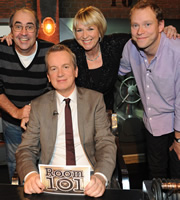 Room 101. Image shows from L to R: Danny Baker, Frank Skinner, Fern Britton, Robert Webb. Copyright: Hat Trick Productions.