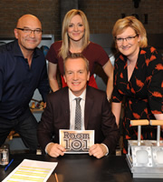Room 101. Image shows from L to R: Gregg Wallace, Gabby Logan, Frank Skinner, Sarah Millican. Copyright: Hat Trick Productions.