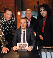 Room 101. Image shows from L to R: Chris Packham, Frank Skinner, Chris Tarrant, Alice Cooper. Copyright: Hat Trick Productions.