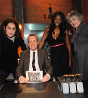 Room 101. Image shows from L to R: Ross Noble, Frank Skinner, Jamelia, Germaine Greer. Copyright: Hat Trick Productions.