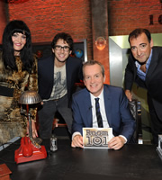 Room 101. Image shows from L to R: Hilary Devey, Josh Groban, Frank Skinner, Alistair McGowan. Copyright: Hat Trick Productions.