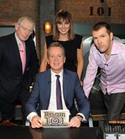 Room 101. Image shows from L to R: Nick Hewer, Frank Skinner, Carol Vorderman, Rhod Gilbert. Copyright: Hat Trick Productions.