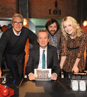 Room 101. Image shows from L to R: Larry Lamb, Frank Skinner, David O'Doherty, Lauren Laverne. Copyright: Hat Trick Productions.