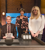 Room 101. Image shows from L to R: Frank Skinner, Joan Bakewell, Roisin Conaty. Copyright: Hat Trick Productions.