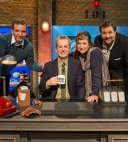 Room 101. Image shows from L to R: Henning Wehn, Frank Skinner, Caroline Quentin, Michael Ball. Copyright: Hat Trick Productions.