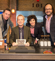 Room 101. Image shows from L to R: Lee Mack, Frank Skinner, Ruby Wax, Dave Myers. Copyright: Hat Trick Productions.