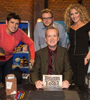 Room 101. Image shows from L to R: Vernon Kay, Miles Jupp, Frank Skinner, Kelly Hoppen. Copyright: Hat Trick Productions.