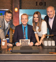 Room 101. Image shows from L to R: Adam Hills, Frank Skinner, Melanie Chisholm, Gyles Brandreth. Copyright: Hat Trick Productions.