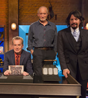 Room 101. Image shows from L to R: Frank Skinner, Charles Dance, Laurence Llewelyn-Bowen. Copyright: Hat Trick Productions.