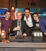 Room 101. Image shows from L to R: Steve Jones, Frank Skinner, Bruno Tonioli, Sue Perkins. Copyright: Hat Trick Productions.