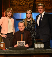 Room 101. Image shows from L to R: Fiona Bruce, Frank Skinner, Katherine Ryan, Ray Mears. Copyright: Hat Trick Productions.