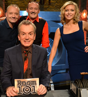 Room 101. Image shows from L to R: Bob Mortimer, Frank Skinner, Brendan O'Carroll, Rachel Riley. Copyright: Hat Trick Productions.