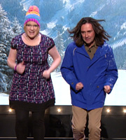 The Sarah Millican Television Programme. Image shows from L to R: Sarah Millican, Neil Oliver. Copyright: So Television / Chopsy Productions.