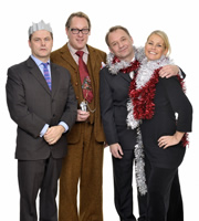 Shooting Stars. Image shows from L to R: Jack Dee, Vic Reeves, Bob Mortimer, Ulrika Jonsson. Copyright: Channel X / Pett Productions.