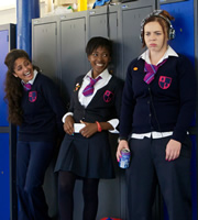Some Girls. Image shows from L to R: Saz (Mandeep Dhillon), Viva (Adelayo Adedayo), Holli (Natasha Jonas). Copyright: Hat Trick Productions.