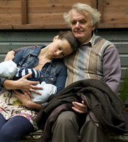 Starlings. Image shows from L to R: Bell (Rebecca Night), Grandad (Alan Williams). Copyright: Baby Cow Productions.