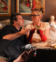 Starlings. Image shows from L to R: Terry (Brendan Coyle), Jan (Lesley Sharp). Copyright: Baby Cow Productions.