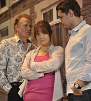 Stella. Image shows from L to R: Rob Morgan (Mark Lewis Jones), Stella (Ruth Jones), Sean (Kenny Doughty). Copyright: Tidy Productions.