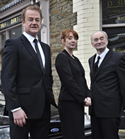 Stella. Image shows from L to R: Dai (Owen Teale), Paula (Elizabeth Berrington), Daddy (Howell Evans). Copyright: Tidy Productions.