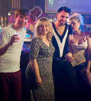 Stella. Image shows from L to R: Tom (Gruffudd Glyn), Stella (Ruth Jones), Rylan Clark-Neal, Nadine (Karen Paullada). Copyright: Tidy Productions.