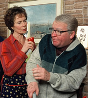 Still Game. Image shows from L to R: Mrs Begg (Celia Imrie), Winston Ingram (Paul Riley). Copyright: The Comedy Unit / Effingee Productions.