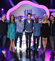 Sweat The Small Stuff. Image shows from L to R: Joe Lycett, Rochelle Humes, Rickie Haywood Williams, Nick Grimshaw, Melvin Odoom, Holly Willoughby, Ricky Norwood. Copyright: Talkback.