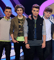 Sweat The Small Stuff. Image shows from L to R: Josh Cuthbert, George Shelley, JJ Hamblett, Jaymi Hensley. Copyright: Talkback.